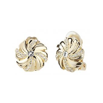 Traveller Clip Earrings Gold-plated Crystals From Swarovski - 157349 - 974