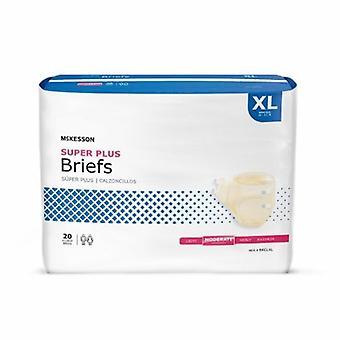 McKesson Unisex Aikuisten inkontinenssi Lyhyt McKesson Super Plus Tab Closure X-Large Kertakäyttöinen Kohtalainen Absorben, Beige 20 Pussit