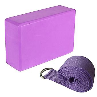 Yoga Blocks And Yoga Strap Set Eva Foma Comfortable Firm Blocks With Lightweight Suit For Yoga Pilates Lovers(purple)
