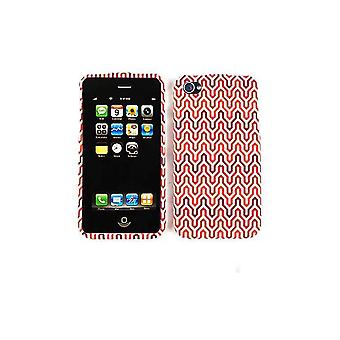 Cell Armor Flip Case for Apple iPhone 4/4S - Red / Brown Waves