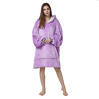 Womens Warm Sherpa Fleece Hooded Wrap Over Nightwear Bathrobe(Purlpe)