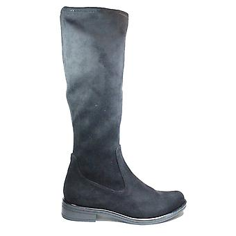 Caprice 25512 044 Black Velour Womens Pull On Knee High Boots