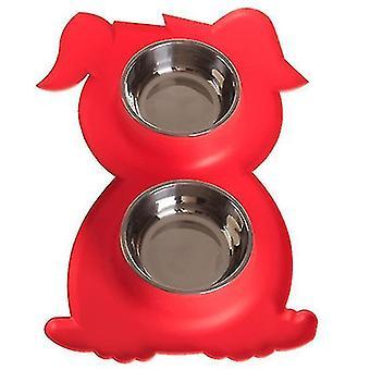 Ruostumaton teräs Double Pet Bowl Koira Kissa Twin Food Water Dish Ruokinta-asema (punainen)