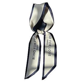 3PCS Women Narrow Long Scarf 100x6cm Chic French Gentle Elegant Chiffon Silk Tie Letter Print Bag