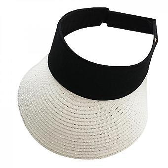 Women Straw Sun Visor Hat Wide Brim Summer Uv(White)