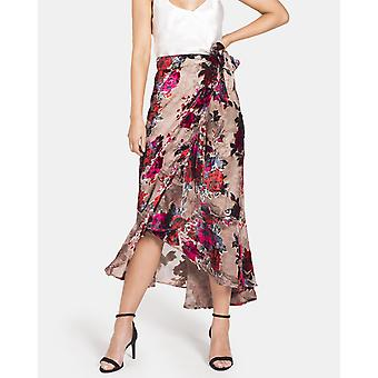 Printed Floral Velour Wrap Skirt