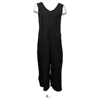 Cuddl Duds Petite Jumpsuits Flexwear V-Neck Wide Leg Black A373507