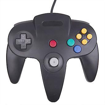 Controlador con cable compatible con Nintendo 64 Gamepad para consola de juegos original negro