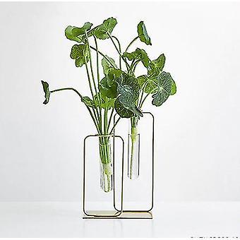 nordisk glass vase metall stativ med kunstig blomst dekorasjon