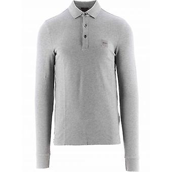 BOSS Light Grey Slim Fit Stretch Cotton Passerby 1 Polo Shirt