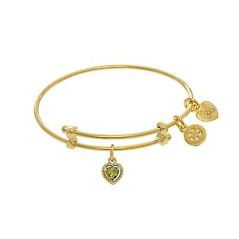 August Heart Shape CZ Birthstone Charm Adjustable Bangle Girls Bracelet