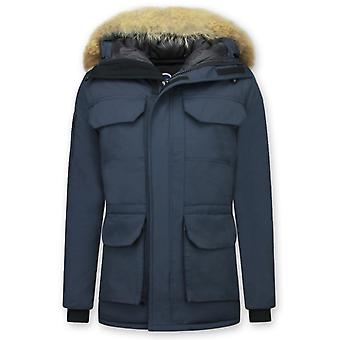 Long Winter coat - With Fur Collar - Blue