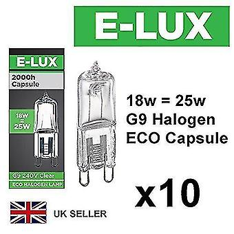 Flood spot lights pack of 10 x g9 18w=25w branded 240v dimmable 210 lumen c rated safety fused eco halogen clear bulbs
