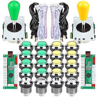 2 Hráč ellipse arkádová sada Oválné bat joystick rukojeti led chromované arkádové knoflíky pro arkádový standard