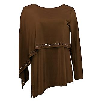 Antthony Women's Top Long Sleeve Double Layer Brown 716294