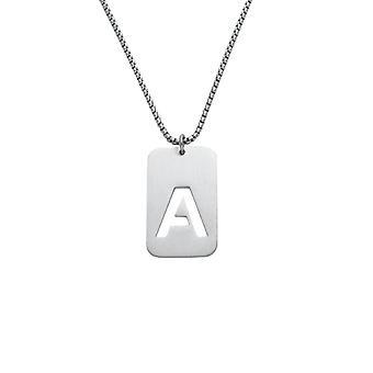 Last Name Name English Letter Necklace Hollow Simple Titanium Steel Couple Pendant