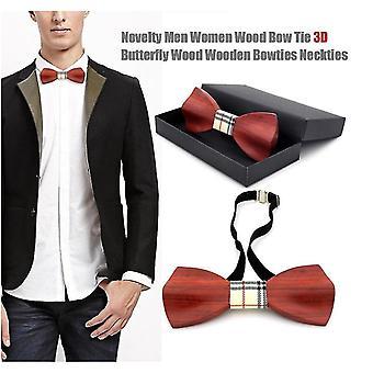 Novelty Men Women Wood Bow Tie 3d Butterfly Wood Wooden Bowties Neckties