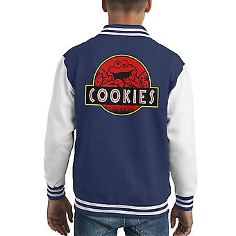 Cookie Monster Jurassic Park Sesame Street Kid Varsity Jacket