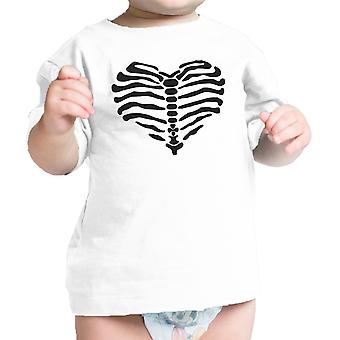 قلب القميص هيكل عظمى هالوين الزي بيبي قميص الرسم الرضع المحملة