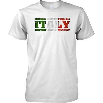Włochy Grunge kraju nazwa flagi efekt - Tricolore - dzieci T Shirt