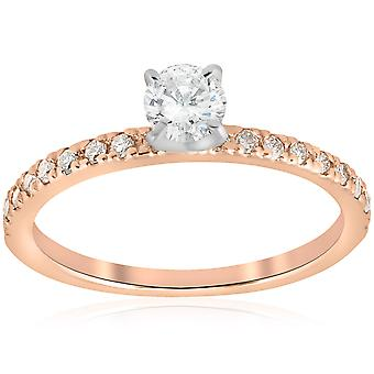 1 / 2ct diamant forlovelsesring 14K Rose gull