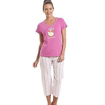 Camille 100% Cotton Duck motief roze bijgesneden pyjama's Set