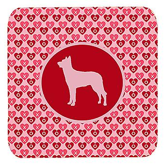 Carolines Treasures  SDK1113-A-FC Set of 4 Beauceron Valentine Hearts Foam Coast