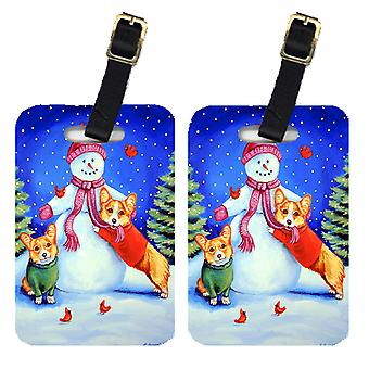 Carolines Treasures  7048BT Snowman with Corgi Luggage Tags Pair of 2