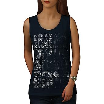 Leaf Plant Art Women NavyTank Top | Wellcoda