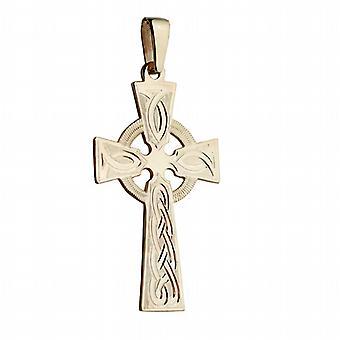 9ct золота 44x26mm руку шаблон кельтский крест выгравированы узел с залог на