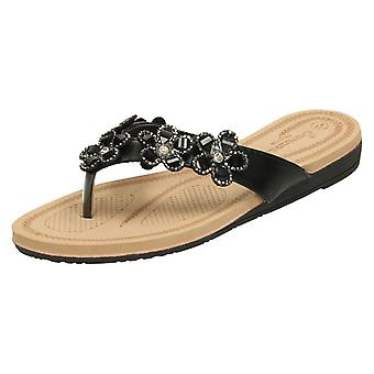 Ladies Savannah Jewelled Flower Trim Toepost Sandals F00100
