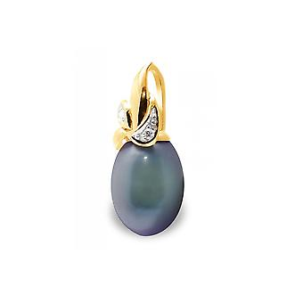 Pearl pendant of Culture of Black Water, Diamonds and Yellow Gold 375/1000 5283