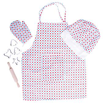 Bigjigs Toys Spotted Chef's Set Cooking Baking Apron Hat Child Kids Pretend Play