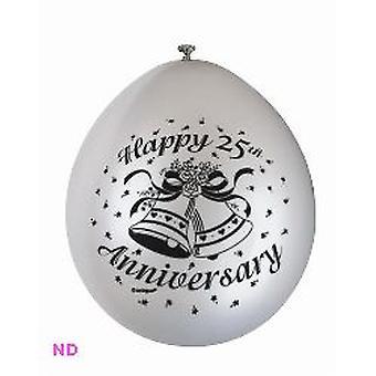 "Ballonnen 'HAPPY 25th ANNIVERSARY' Zilveren 9"" Latex (10)"