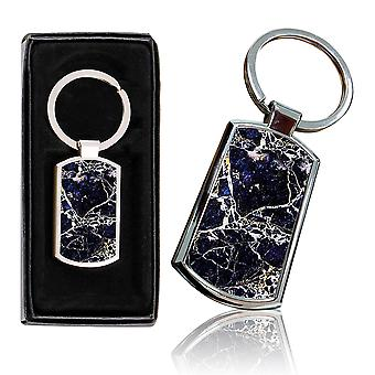 i-Tronixs - Premium Marble Design Chrome Metal Keyring with Free Gift Box (1-Pack) - 0024