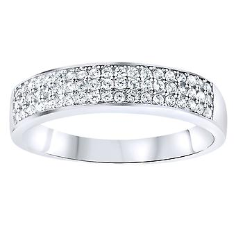 Sterling 925 Silver pave ring - three lines pave
