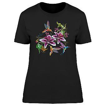 Tre colibrì con i fiori di t-shirt donna-immagine di Shutterstock