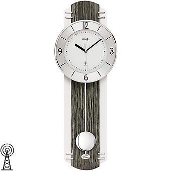 Wall clock radio radio wall clock with pendulum black grey wood optics pendulum clock