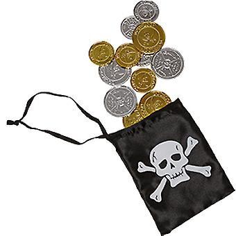 Piraten Geld mit Beutel Kinder Accessoire Karneval Pirat Seeräuber