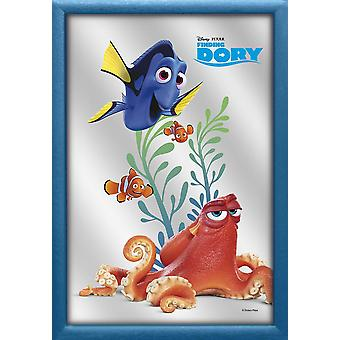 Finding dory wall mirror happy dory casewrap, blue plastic framing, wood look.