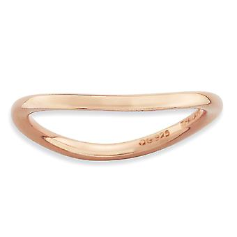 1.5mm 925 Sterling Silver Stackable Expressions Polished Pink plate Wave Ring Jewelry Gifts for Women - Ring Size: 5 to
