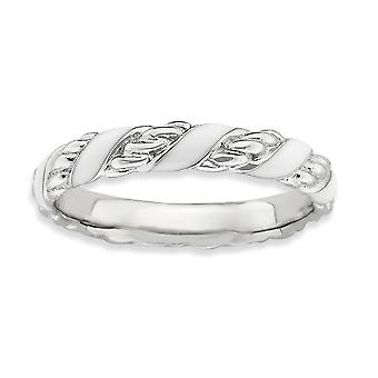 925 Sterling Silver Rhodium plated Stackable Expressions Polished White Enameled Ring Jewelry Gifts for Women - Ring Siz