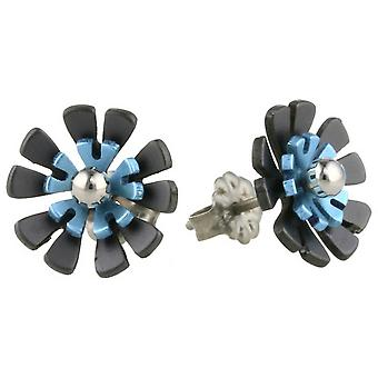 Ti2 Titanium Black Back Ten Petal Flower Stud Earrings - Sky Blue