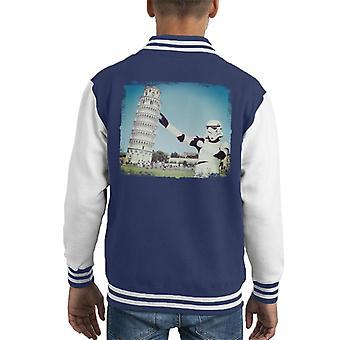 Original Stormtrooper Selfie Leaning Tower Of Pisa Kid's Varsity Jacket