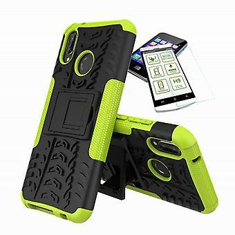 För Huawei honor 8 X hybrid fall 2 bit grön + härdat glas väska fallet täcker sleeve