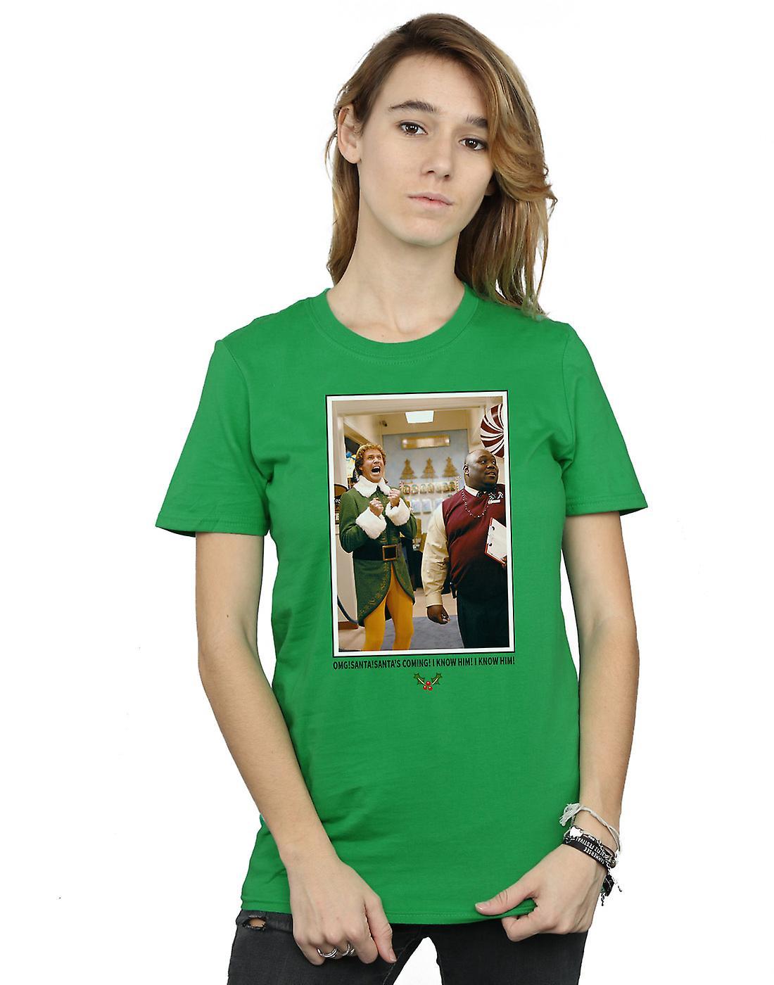 Elf Women's OMG Santa Photo Boyfriend Fit T-Shirt