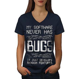 Bugs Programmierer Frauen NavyV-Neck T-Shirt | Wellcoda