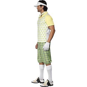 """Byl pryč Golf kostým, zelený, žlutý, bílý, hrudník 38 """"-40"""", noha inseam 32.75 """""""