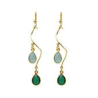 Gemshine oorbellen Smaragd groene Chalcedoon edelstenen 925 zilver of verguld