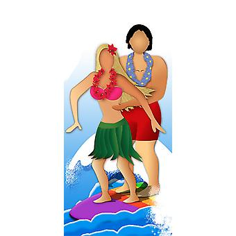 Surfer Couple Stand-In - Lifesize Cardboard Cutout / Standee